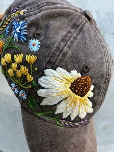 Hand Embroidered Hat / Custom Embroidered Hat / Floral Embroidered Hat / Embroidered Baseball Caps / Brown Cap / Flower Hat / Wildflower - things i want ta have embroidery sweets embroidery inspiration embroidery beautiful Hand Embroidery Stitches, Hand Embroidery Designs, Diy Embroidery, Cross Stitch Embroidery, Knitting Stitches, Hand Stitching, Embroidery Alphabet, Custom Embroidered Hats, Embroidered Baseball Caps