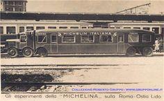 12-11-1921 Iniziano i collaudi delle rotaie della linea ferroviaria. La linea entrerà in funzione dopo tre anni. La Roma-Ostia è usata anche per altri esperimenti: in questo caso si tratta della Michelina, nome italianizzato della francese Michelin, che progettò questo autobus, munito sia di ruote in gomma che di quelle classiche in ferro dei treni, che poteva così percorrere anche le linee ferrate. Dopo qualche mese di servizio effettivo l'idea fu accantonata. Trains, Rail Car, Busses, Locomotive, Old Photos, History, Cars, Italia, Autos