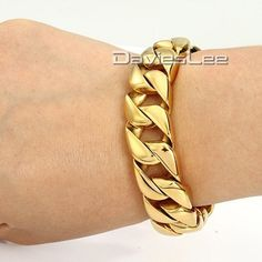 DaviesLee 13mm Gold Plated Round Curb Cuban Men Chain 316L Stainless Steel Bracelet Fashion Jewelry