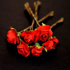 Red Rose Serenade, Bridal Hair Accessories, Bridesmaid Hair Flower, Red Hair Flower, Brass Bobby Pin - Set of 6 on Etsy, $20.00