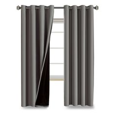 FlamingoP 100% Blackout Lined Grommet Curtains 2-Pack -Gray
