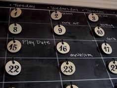 French Inspired Enameled Number Tags and Chalkboard Calendar! Chalkboard Command Center, Chalkboard Calendar, Family Command Center, Diy Calendar, Diy Chalkboard, Command Centers, Monthly Calendars, Wall Calendars, Printable Calendars