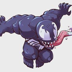Marvel Drawing Venom for MARVEL's Super Hero Adventures. via Derek Laufman ( Drawing Cartoon Characters, Cute Characters, Character Drawing, Marvel Characters, Comic Character, Cartoon Drawings, Character Design, Marvel Venom, Marvel Art