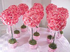 10 Ten  Pink Rose Topiaries // Silk Flower by MajesticSilkFlowers, $298.00