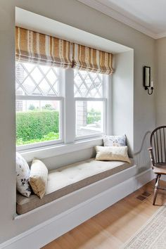Harbor View Window Seat - Traditional - Living Room - boston - by . Contemporary Home Decor, Modern Interior Design, Interior Architecture, Home Decor Bedroom, Living Room Decor, Bedroom Beach, Master Bedroom, Bedroom Windows, Window Curtains