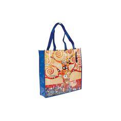 """Sac Shopping - Klimt, H. 40 cm. agnifiquement décoré par l'Arbre de Vie (1909) de Gustav Klimt (1862 ? 1918), cet ami de tous les jours vous accompagnera partout. Robuste et léger il se fera discret. Plié, en bandoulière ou à la main il sera toujours là pour accueillir vos cœurses et emplettes diverses.Cette oeuvre majeure de """"L'Art Nouveau"""" symbolise un arbre stylisé en spirales et richement coloré."""