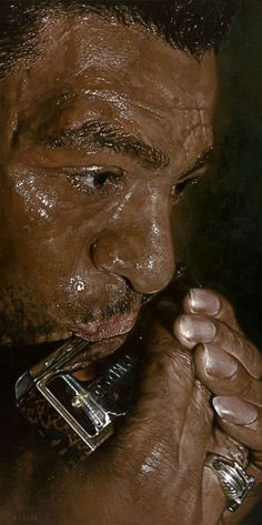 Artist: Sebastian Kruger {African-American male face black man hands playing harmonica portrait painting}