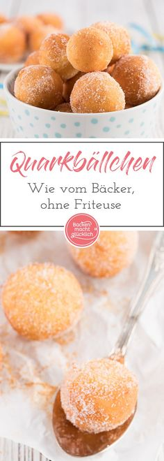 So schmecken die Quarkbällchen wie vom Bäcker - auch ohne Friteuse! Baking Recipes, Cookie Recipes, Dessert Recipes, Cupcake Recipes, Tasty, Yummy Food, Food Cakes, Cheese Recipes, Cakes And More