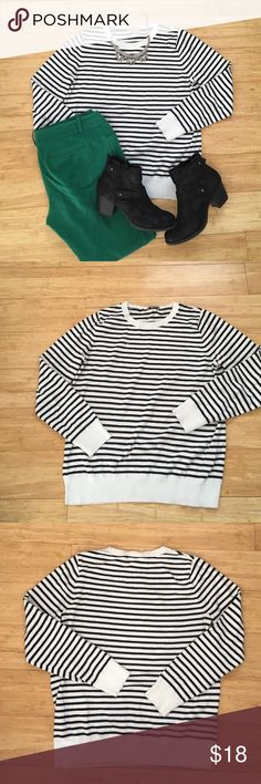 LOFT Off-white & Black Striped Sweater Worn twice, washed once--EUC!  Cute cotton sweater, size L, LOFT outlet.  Perfect neutral stripes for spring!  Medium weight, not oversized but definitely a large. LOFT Sweaters Crew & Scoop Necks