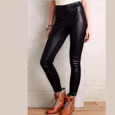 """Anthropologie Vegan Leather Leggings New With Tag Anthropologie Vegan Leather Leggings Sz XS and M Though they may seem like exotic runway wear, leather leggings are surprisingly versatile wardrobe staples. A more polished version of your favorite comfy tights, they go from sophisticated (just add a relaxed blazer) to boho (meet your match, printed kaftan) in a snap.  By La Fee Verte  Front welt pockets Polyurethane, polyester, viscose, spandex Machine wash Inseam: 28.5"""" Anthropologie Pants…"""