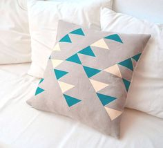 Natural beige linen pillow cover with geometric design in deep emerald green and cream Inspired tribal patterns. via Etsy. Yellow Cushions, Scatter Cushions, Linen Pillows, Decorative Pillows, Throw Pillows, Textiles, Green Dining Room, Tribal Patterns, Tribal Designs