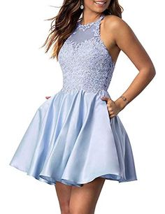online shopping for NaXYJuniors Halter Sleeveless Applique Beaded Short Homecoming Dresses Pockets from top store. See new offer for NaXYJuniors Halter Sleeveless Applique Beaded Short Homecoming Dresses Pockets Prom Dresses With Pockets, Lace Homecoming Dresses, Hoco Dresses, Junior Dresses, Sexy Dresses, Casual Dresses, Summer Dresses, Wedding Dresses, Tight Dresses