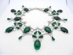 1960's Mimi Di N Runway Rhodium Green Glass Cabochon Rhinestone Collector Piece | eBay