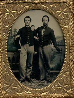Sgt. Burlington Cunningham, Co. K, 19th Indiana, left, with Private William L. Bingamon, Co. D, 20th Pennsylvania Cavalry