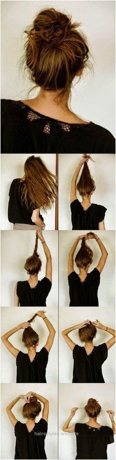 Neat 5 Easy Messy Buns For Long Hair Tutorial I can NEVER get a bun to stay the way i want it to, and the one in the pic actually works for me! F I N A L L Y  The post  5 Easy Messy Buns For ..