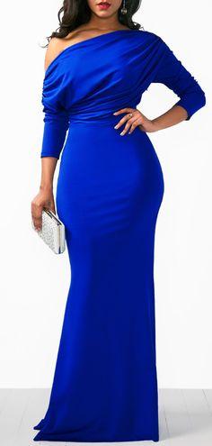 Skew Neck Draped Long Sleeve Mermaid Dress #casualdresses