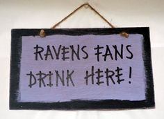 Baltimore Ravens Fans Drink Here Sign  Wooden Hand by BeerGearUSA, $8.00