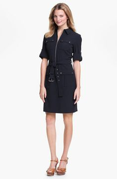 Michael Kors Roll Sleeve Belted Shirtdress, Navy silver accessories | Nordstrom