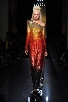 Jean Paul Gaultier | Fall 2014 Couture | 44 Gold/red/black sequined long sleeve maxi dress