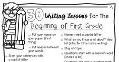 30 writing minilessons for the beginning of first grade. Writing Lessons, Writing Ideas, School Stuff, Back To School, First Grade Writing, Informational Writing, Writer Workshop, Grade 1, Teaching Ideas