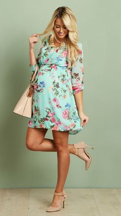 816e2941a2d Mint Floral Chiffon Maternity Dress