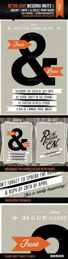 Retro Love Wedding Invite II - GraphicRiver Item for Sale
