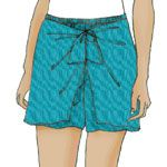 Sporty Sarong-Short. Free pattern download (sizes 6-26) Pull-on, slightly flared shorts have a narrow elastic waistband, and a flared, tie-front sarong-style skirt attached through the back waist seam. Shorts and sarong overlay finish at mid-thigh with a narrow hem