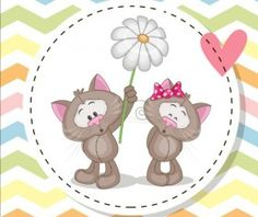 lovely cartoon animal with baby cards vectors 06