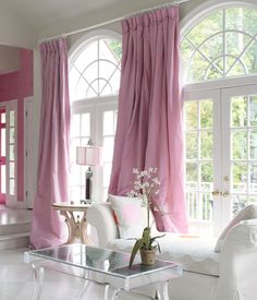 30 Chic Living Room Decor and Furniture Ideas - Home Decor & Design Home Interior, Interior Design, Interior Ideas, Bathroom Interior, Deco Rose, Pink Curtains, Piece A Vivre, Pink Houses, Pink Room