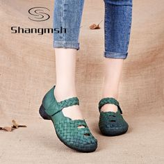 46.79$  Watch now - http://alit6z.shopchina.info/1/go.php?t=32726701094 - Shangmsh Handmade Weave Women Pumps Heels Wedges Genuine Leather Shoes For Women Female Brand Pumps Soft Mother Office Shoes 46.79$ #magazineonlinewebsite