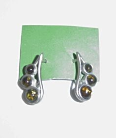 Green Russian Amber and Silver Earrings Leverback