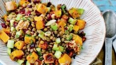 Lentil and squash salad with walnuts and cranberries