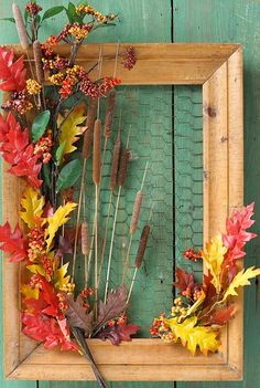 Nature table frame with chicken wire