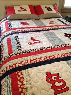 St. Louis Cardinals full size quilt with by sewsosweetdesigns