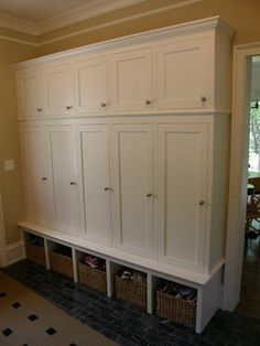 Good storage idea for entry/alcove/laundry area Storage Cabinets, Tall Cabinet Storage, Locker Storage, Coat Storage, Garage Renovation, Garage Interior, Backpack Storage, Backpack Station, Home Organization