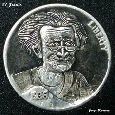 JORGE ROMERO HOBO NICKEL - GEPETTO (FIRST HOBO CARVING) - 1936 BUFFALO NICKEL Hobo Nickel, Coin Art, Amazing Art, Buffalo, Steampunk, Coins, Carving, Money, Rooms