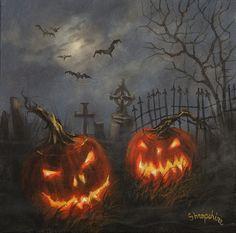 Vintage Halloween Photos, Halloween Artwork, Halloween Scene, Halloween Painting, Theme Halloween, Halloween Images, Halloween Season, Halloween Horror, Diy Halloween