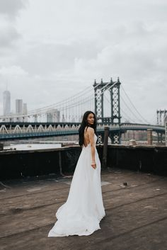 Bride on a rooftop at her New York City elopement.