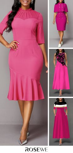 Dresses For Women Hot Pink Dresses, Pink Outfits, Pretty Dresses, Vintage Outfits, African Lace Styles, African Wear Dresses, Long Gown Dress, Women's Fashion Dresses, Bodycon Fashion