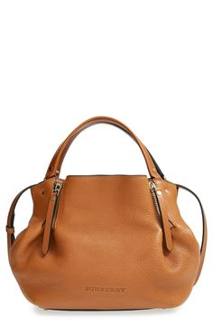 tan Burberry satchel.