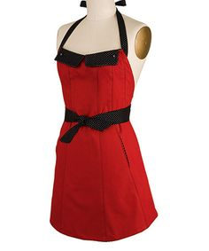 Take a look at this Red Reversible Flap Apron - Women by Kitsch'n Glam on #zulily today! $24.99 LOVE IT! :)