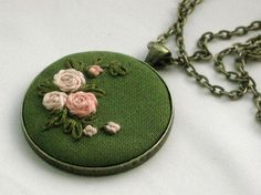 Items similar to Pink and Green Embroidered Pendant on Etsy