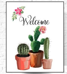 Welcome Cactus Print Cactus Print Cactus by LeelaPrintableArt art garden indoor plants Cactus House Plants, Cactus Wall Art, Indoor Cactus, Cactus Cactus, Cactus Painting, Cactus Decor, Cactus Illustration, Cactus Wedding, Watercolor Plants