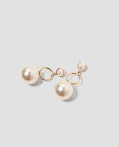 a7c06881216 EARRINGS WITH HOOPS AND FAUX PEARLS - ACCESSORIES