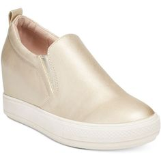 Wanted Pocono Slip-On Wedge Sneakers ($59) ❤ liked on Polyvore featuring shoes, sneakers, gold, gold wedge sneakers, wedge trainers, slip-on shoes, hidden wedge shoes and hidden wedge sneakers