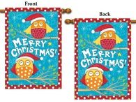 """Christmas Owls 2 Sided Holiday Banner Flag, Size 28"""" x 40"""""""