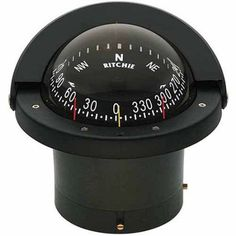 Ritchie FN-203 Navigator Flush Mount CombiDial Compass, Black with Black Dial