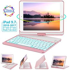 iPad Keyboard Case for iPad 2018 Gen) - Gen) - iPad Pro - Air 2 & 360 Rotate 7 Color Backlit Wireless/BT iPad Case with Keyboard, Auto Sleep Wake, inch, Rose Gold Ipad Air キーボード, German Language Learning, Spanish Language, French Language, Wallpaper Aesthetic, Ipad Accessories, Ipad Pro 12, Bluetooth Keyboard, Study Tips