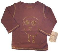 T-shirt enfant violet à manches longues en coton bio, dessin hibou #tshirtenfanthibou