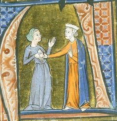 British Library, Sloane f.A noble woman tests the exposed breast of a prospective nurse' Aldobrandino of Siena, Le Régime du corps. Medieval Life, Medieval Fashion, Medieval Clothing, Medieval Art, British Library, Illuminated Letters, Illuminated Manuscript, Costume Renaissance, Medieval Drawings